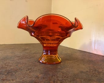 Vintage 1960s Viking Glass Epic Georgian Compote / Candy Dish in Persimmon / Orange