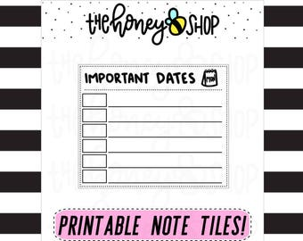 Important Dates | PRINTABLE NOTE TILE