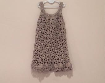 Chantilly Lace Sundress - Handmade Crochet Dress Age 3 in Pearl Grey Bamboo Cotton
