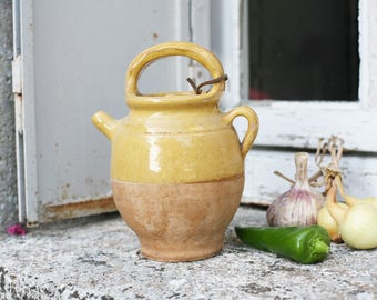 provencal water jug, ochre water or wine pitcher, 1950s farmhouse pottery,gargoulette, vintage french provincial kitchen decor