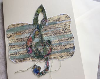 Fiddlestitch Treble Clef Card. Music Gift Card, Treble Clef Card for Music Lovers.
