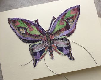 Fiddlestitch Butterfly Card. Butterfly. Handmade Card for all occasions.