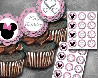 Pink & Silver Girlie Mouse Cupcake Toppers Instant Download Printable Cupcake Toppers