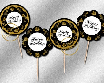 Instant Download, Black and Gold Cupcake Toppers, Party Circles, Printable Cupcake Toppers, Elegant Party Ideas