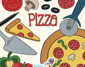 Pizza Clip Art - hand drawn pizza, mushroom, tomato, pepper, olive & pepperoni illustrations - commercial use CU OK