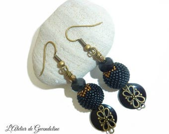 Black and bronze earrings with Pearly beads and sequin enamelled