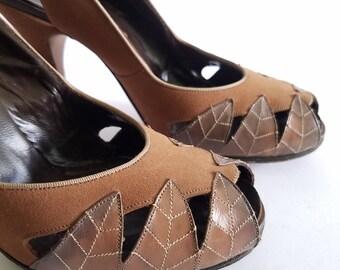 1950's Camel Brown Slingback Heels sz.5m