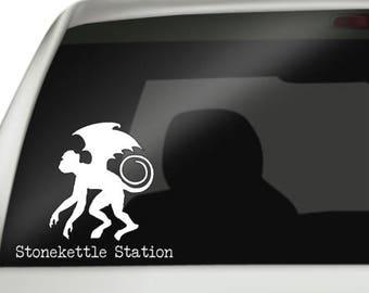 Stonekettle Station Flying Monkey Vinyl Car Decal, Stonekettle Station Flying Monkey Sticker, ShopKat Minion Decal