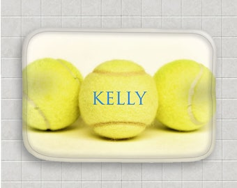 Tennis Bath Mat-Personalized Bath Mat-Name on Tennis Ball-Microfiber Mat-Sports Decor-Non Skid Mat-Bathroom Floor Mat-Tennis Bathroom Decor