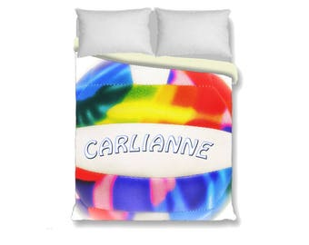 Custom Duvet Cover-Volleyball with Name Duvet Cover-Volleyball Duvet Cover-Sports Bed Decor-Girls Bedding-Twin/Full/Queen/King Duvet Cover