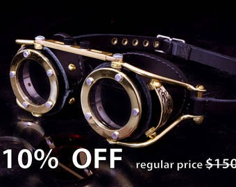 Steampunk Goggles Victorian Goth Brass All Black LARP Cosplay