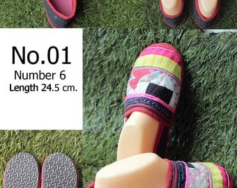 Shoes Slippers Traditional Hill tribe Fabric /size 6/ Length  24.5 cm.( Please select the number No.01/No.02/No.03/No.04/No.05)