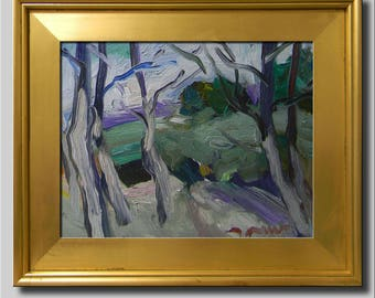 Woods Painting, Plein Air Landscape Painting, Impressionist Oil, Green Tree Painting, Abstract Painting