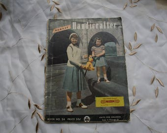Bernat Handicrafter Knits For Children Sizes 4 - 12  Book #24. Vintage 1950's Patterns