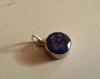 Holiday SALE 85 % OFF Sapphire  Pendant Gemstones  . 925 Sterling Silver