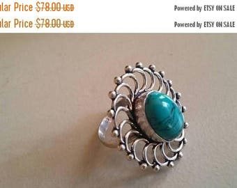 Holiday SALE 85 % OFF Turquoise ring size 6.5 Sterling 925 Silver   Ring  Gemstone