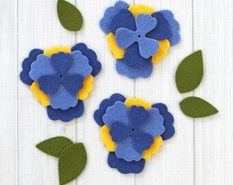 Felt Flowers, Pansy, Flower Layers, 18 pieces, Die Cut Felt Shapes, Felt Applique, Hoop Art, Your Choice of Colors