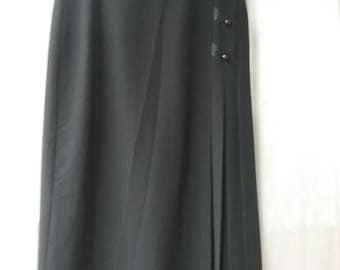 Vintage 80s90s skirt black midlong skirt pleats VINTAGE SKIRT black size 36 small pleated skirt womens