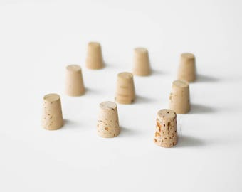 10 Large Corks, Size 8 - Natural  Cork Stoppers