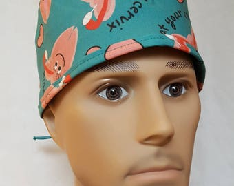 CERVIX Uterus Surgical scrub hat operating room hat theatre cap tie in back GYN OB anatomy sweatpad