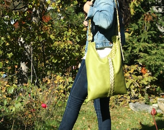 leatherette upholstery and lime green fabric shoulder tote bag