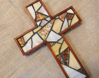 Rustic Mosaic Wall Cross, Small Wooden Wall Cross, Stained Glass Brown Cross, Baptism Cross