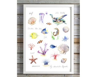 Under the Sea poster - large print - Ocean animals Watercolor Art - Fish painting - coral anemone turtle shells ocean tropical  nursery