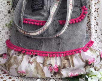 Up cycled jeans tote bag.