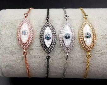 WT-MB048 Wholesale Evil eye cz pave bracelet adjustable thin band women cubic zirconia pave bracelet pearl manmade diamond bracelet