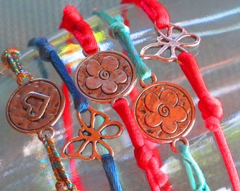 HAPPY colorful lace silver-plated bracelet