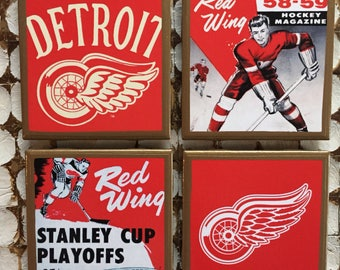 COASTERS! Retro Detroit Red Wings coasters with gold trim