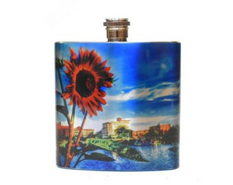 Asbury Park New Jersey Stainless Steel Sunflower Flask / Jersey Shore Gift / Flask for Women