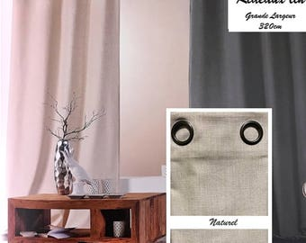 Curtain linen large size (natural collar) has EYELETS height 320 CM Double heavy curtain