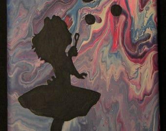 Original Acrylic Painting, Little Girl Blowing Bubbles, Paint Pour, Shadow