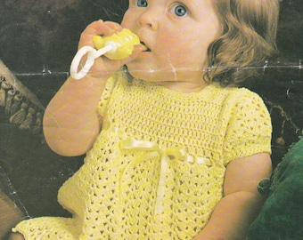 Baby crochet dress vintage crochet pattern pdf INSTANT download baby pattern only pdf 1970s