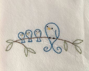 Flour sack dish towel, hand embroidered: Bluebirds