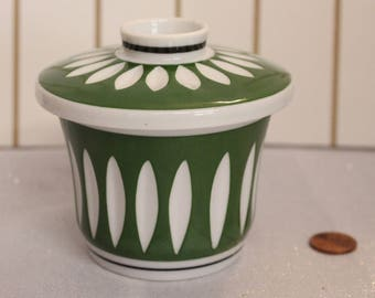 Unique Vintage Japanese Tea Cup, Green and white Japanese Teacup with lid, Asian tea cup with Lid Signed