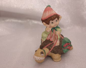 "Vintage Hallmark Lovelets Pixie Elf riding a Turtle ""Very Special Delivery"" 1983 Hallmark Cards"