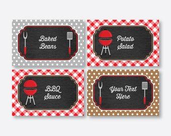 Instant Download, Editable Barbeque Food Labels, BBQ Food Labels, BBQ Food Tags, Buffet Card, Table Tents, Barbeque Decor,Chalkboard(CKB.75)