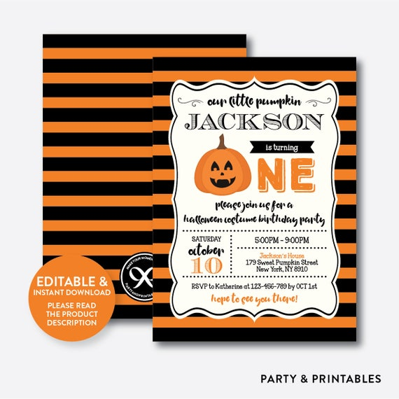 Instant Download Editable Pumpkin First Birthday Invitation Halloween One SKB45