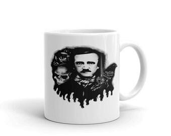 Poe Raven Skull  Mug made in the USA