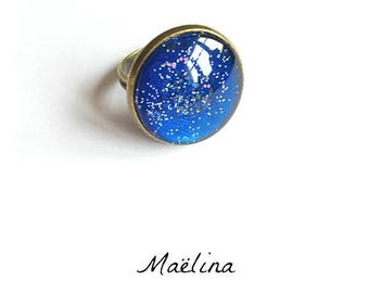 Ring moolight dark blue glitter night moon stars