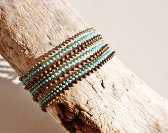 "Tribal ethnic bracelet ""Anangu"" Brown and turquoise"
