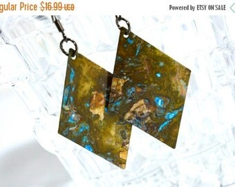 XMASINJULY Brass earrings, patina earrings, boho earrings, geometric earrings, rustic earrings, green patina, verdigris earrings, long earri