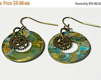 XMASINJULY Steampunk Earrings, Brass earrings, Patina jewelry, gear earrings, retro earrings, steam punk gift, copper jewelry, washer earrin