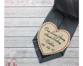 Wedding Tie Patch Groom-GroomHeart Tie Patch-Coat/Vest Patch-Bride to Groom Gift-Custom Embroidered Tie Patch