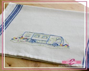 Happy Camper (Motorhome) Tea Towel | Embroidered Tea Towel | Kitchen Towel | Embroidered Towel | Hand Towel | Dish Towel