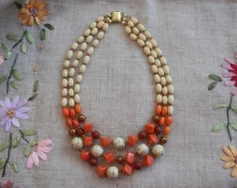 1940s triple strand choker necklace