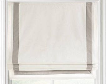 Custom Order Relaxed Roman Shades with Trim, with Chain Mechanism - Custom Shade