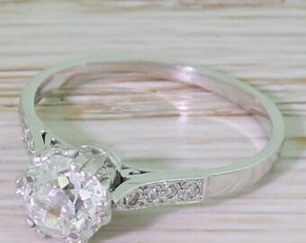 Art Deco 1.00 Carat Old Cut Diamond Engagement Ring, circa 1935